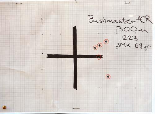 Мишень Bushmaster ACR с 300-метрового рубежа (це- левой патрон с пулей Sierra Match King 69 гран). Кучность: 1 МОА по 5 выстрелам (0,5 МОА— по четырем)